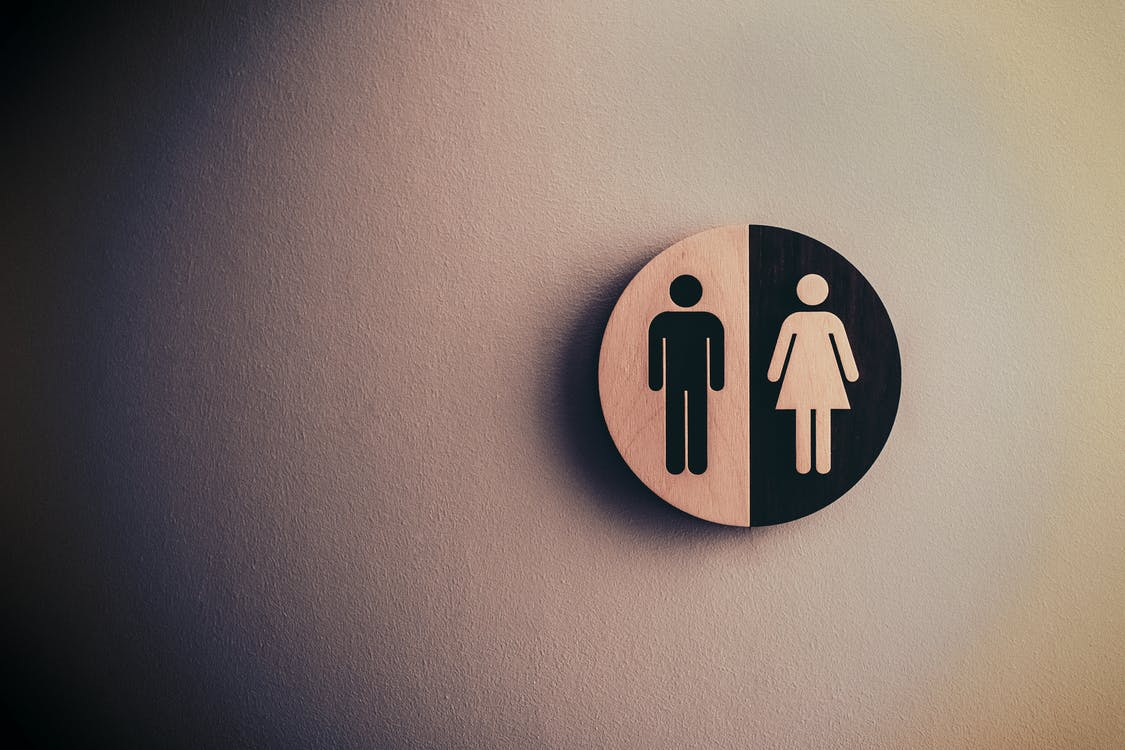 A photo of a sign with the common symbols of male and female bodies.